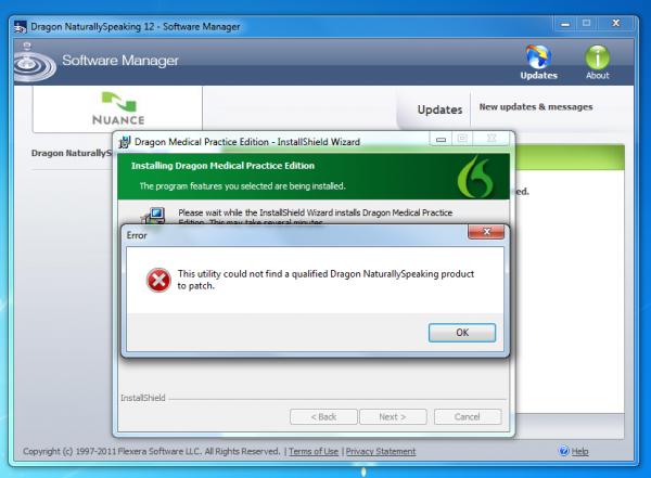 Dragon Naturally Speaking update wizard error message