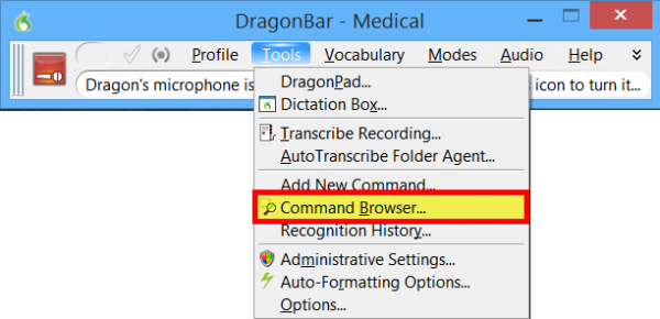 How to open the command browser in Dragon speech recognition software for Windows