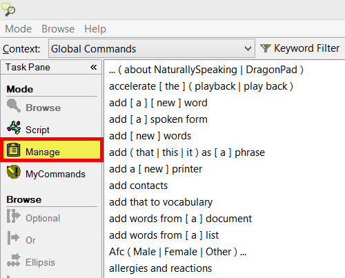 Manage commands in the Dragon command browser