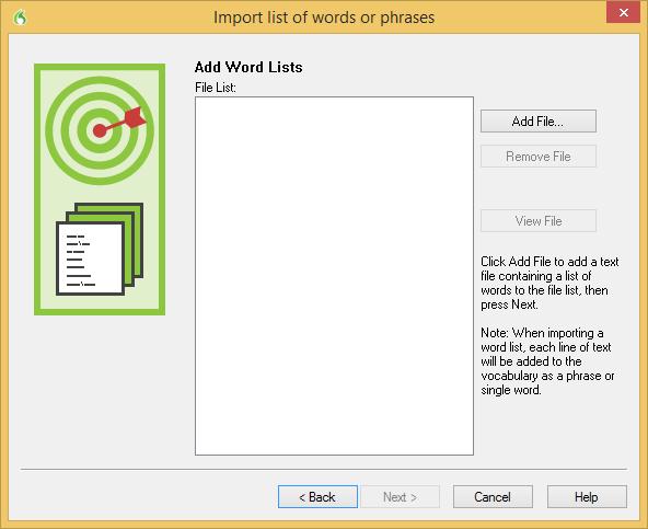 Dragon import word list window