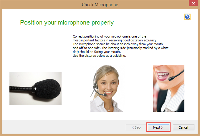 Dragon Medical Practice Edition 2 - Check Microphone window