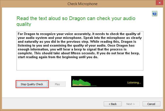 Dragon Medical Practice Edition 2 - Check Audio Quality