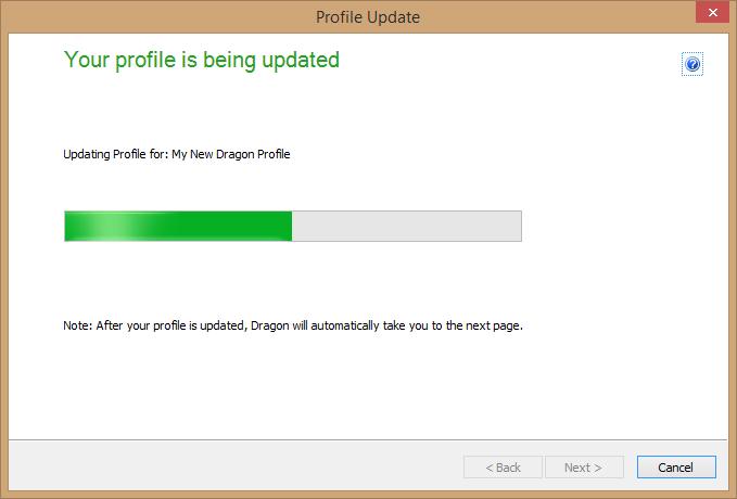 Dragon Medical Practice Edition 2 - Profile Update window