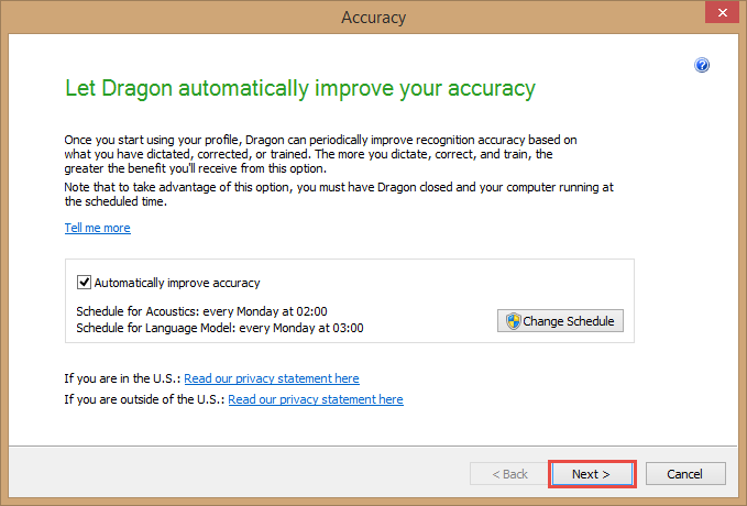 Dragon Medical Practice Edition 2 - Accuracy Tuning scheduling window