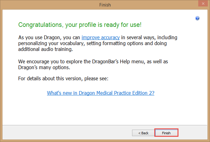 Dragon Medical Practice Edition 2 - Profile creation finished
