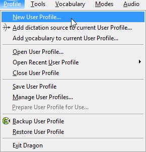 Dragon Medical Practice Edition 2 DragonBar - New User Profile menu item