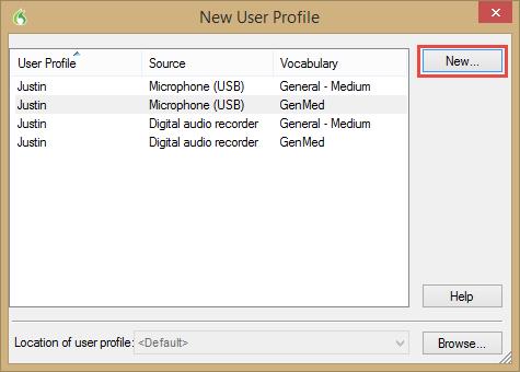 Dragon Medical Practice Edition 2 - New User Profile window