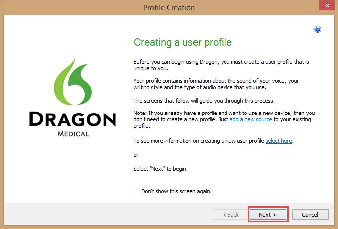 Dragon Medical Practice Edition 2 - Profile Creation window
