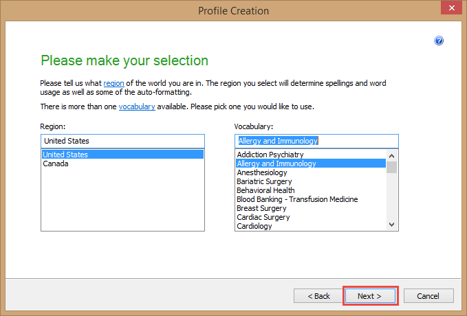Dragon Medical Practice Edition 2 - Profile Creation - Select your region and vocabulary
