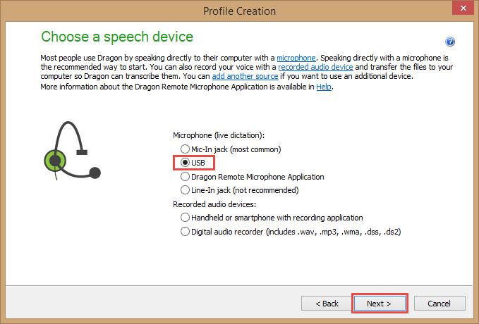 Dragon Medical Practice Edition 2 - Profile Creation - Choose a speech device