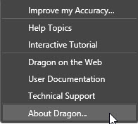 Dragon Naturally Speaking v13 Help Menu - About Dragon menu item