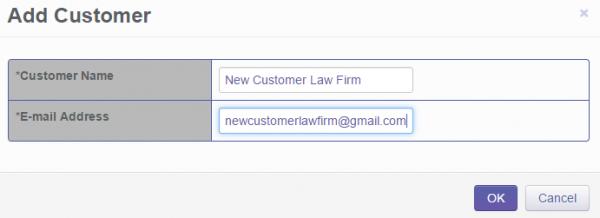 Olympus Dictation Portal - Add Customer window