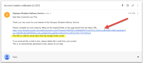 Olympus Dictation Delivery Service - account setup link