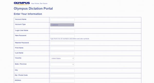 Olympus Dictation Portal - Account information window