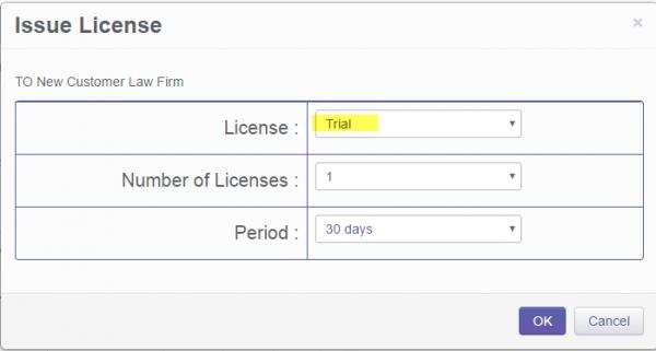 Olympus Dictation Portal - Issue License window
