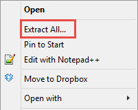 How to unzip a zipped folder
