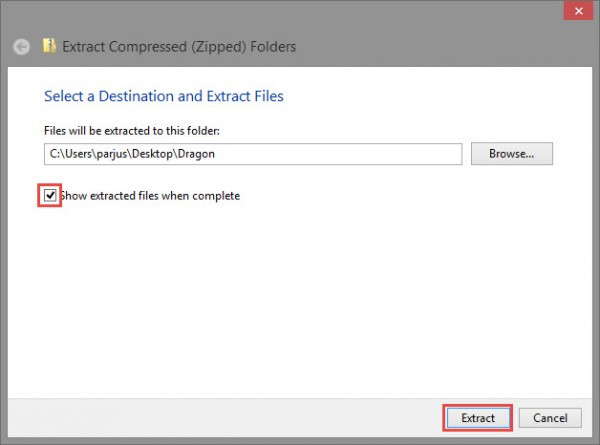 Choose where to extract your files to
