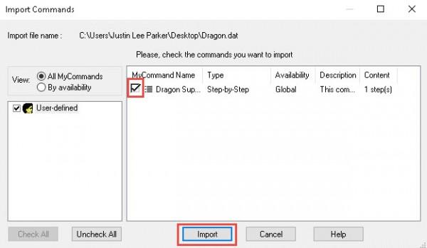 Dragon import commands wizard