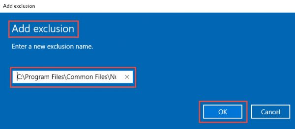Windows Defender - Add a process exclusion screen