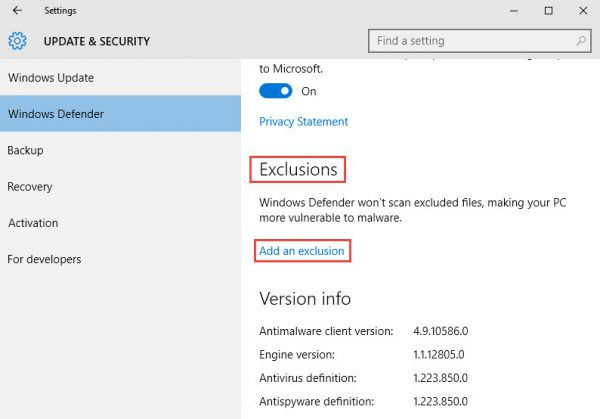 Windows Defender exclusions link