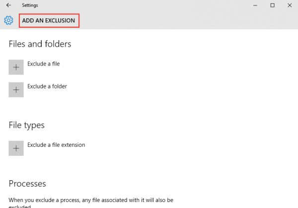 Windows Defender add an exclusion screen