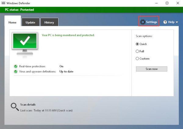 Windows Defender main screen