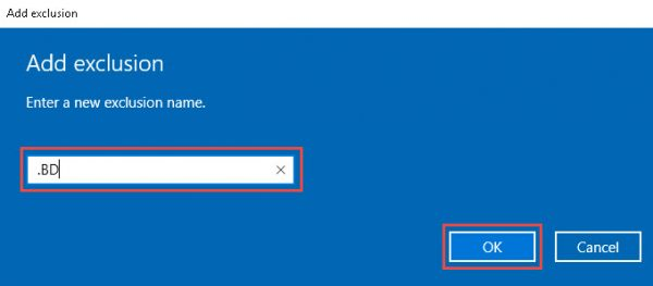 Windows Defender - adding file type exclusion