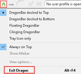 How to close Dragon Medical Practice Edition 2
