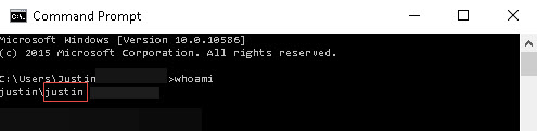 Windows command prompt with user name