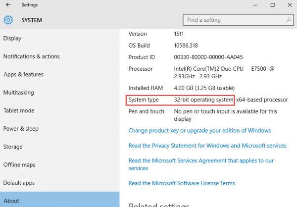 Windows 10 System Settings screen