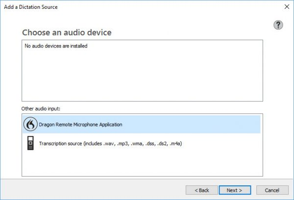 Add a dictation source window in Dragon speech recognition software