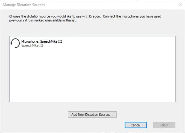 Manage dictation sources window in Dragon speech recognition software