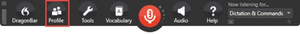 Expanded DragonBar in Dragon speech recognition software