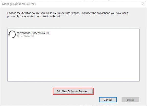 Add a new dictation source window in Dragon speech recognition software