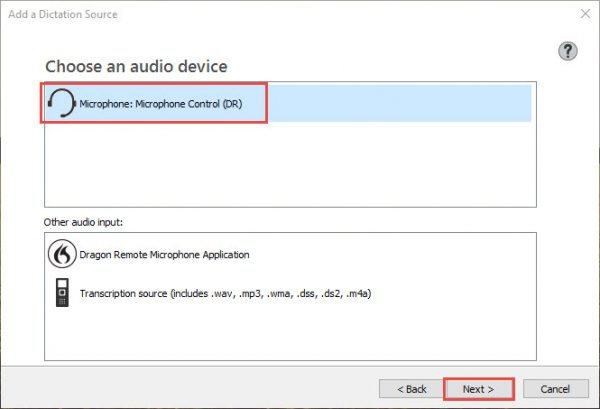 Dragon speech recognition software - Newly available microphone in Choose an audio device