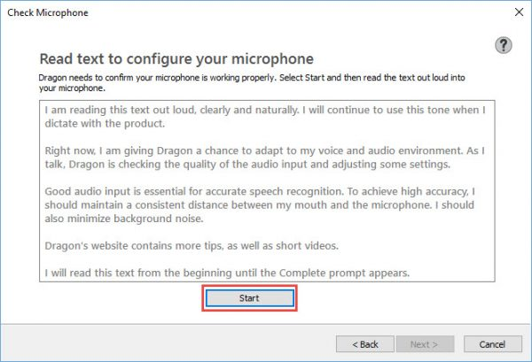 Dragon software - read text to configure microphone