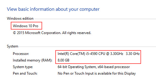 Windows version and processor information
