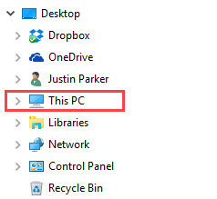 This PC icon in File Explorer