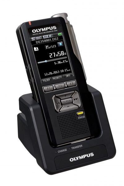 Olympus DS-7000 voice recorder in cradle