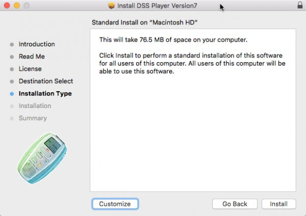 DSS Player for Mac installation type window