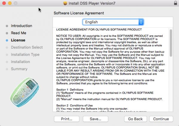 DSS Player for Mac license agreement