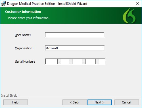 Dragon Medical customer information window