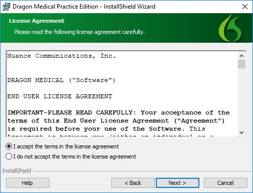 Dragon Medical license agreement window
