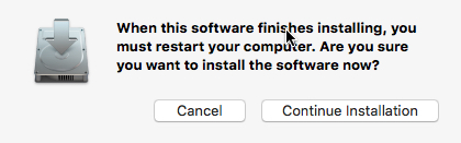 Mac installation restart prompt