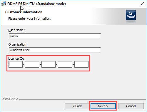ODMS R6 Installation - License verification screen