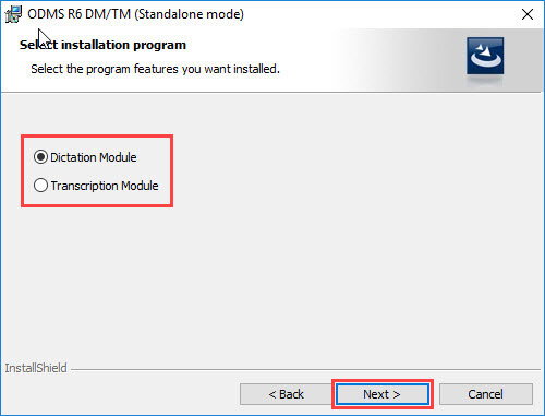 ODMS R6 Installation - Choosing between dictation and transcription