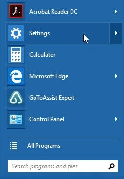 Windows Start menu - Settings