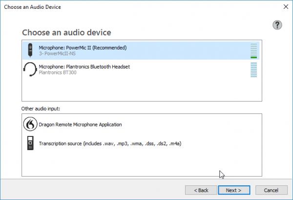 Dragon Professional Group v14 - Choose an audio device menu