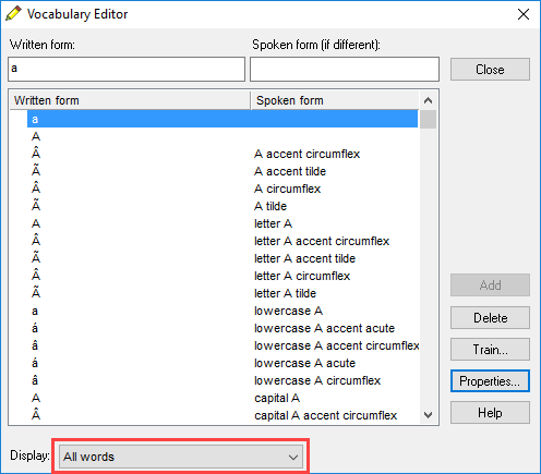Dragon vocabulary editor