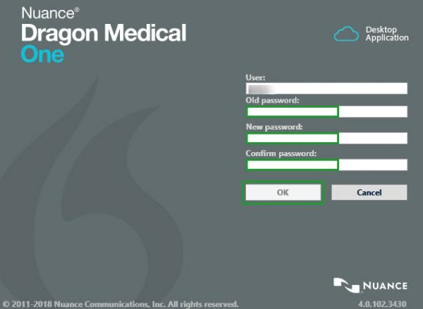 dragon medical one password change screen